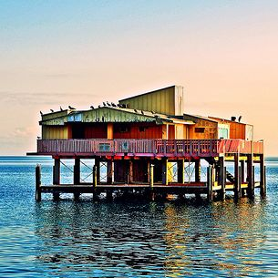 Bird House. Home By The Sea. Stunning Sunset Pastel Shades Backdrop Birds On Stiltsville Home, Key Biscayne, Miami, Florida - IMRAN™ __Worth Reading Too  — 7500+ Views!