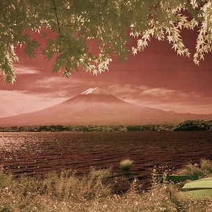 Infrared View of Mt. Fuji Across Kawaguchi Lake
